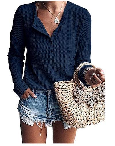 WNEEDU Waffle Knit Henley Sweater