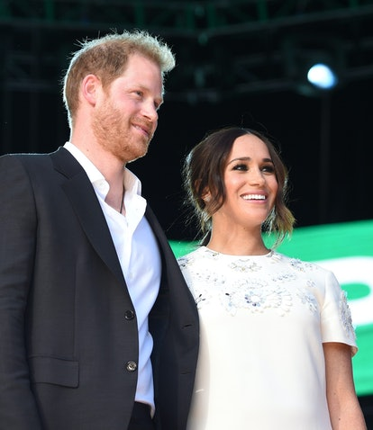 Prince Harry and Meghan Markle at Global Citizen Live on Sept. 25, 2021.
