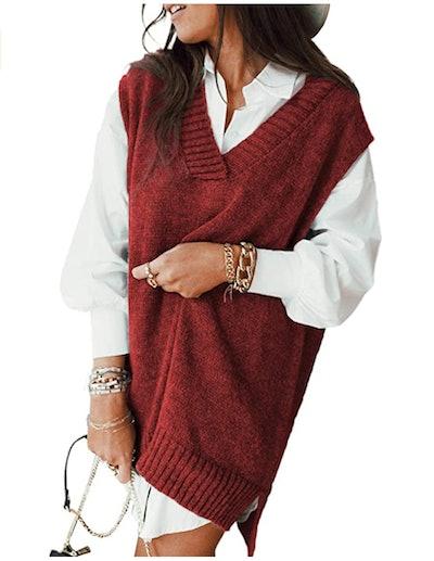 HOTAPEI Oversized Sleeveless Sweater Vest