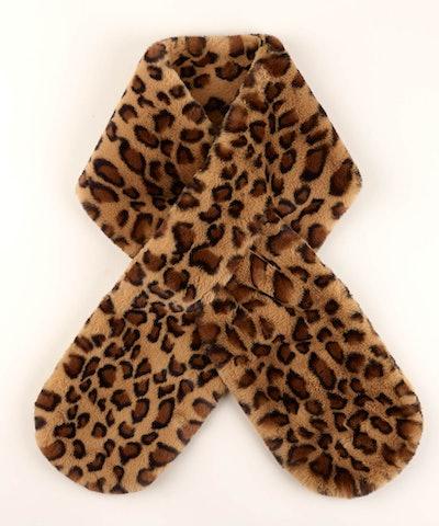 Animal Print Faux Fur Pull-Through fuzzy scarf
