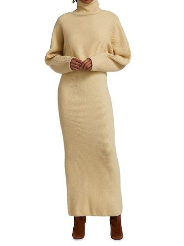 Wool Turtleneck Knit Dress Set