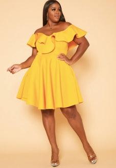 Plus Size Ruffle Flare Mini Dress