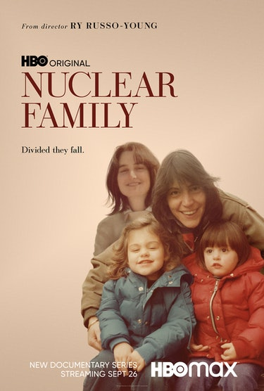 movie poster, with a vintage photo of the family huddled together