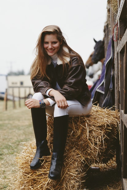 Actress Sienna Guillory on the set of the television adaptation of the Jilly Cooper novel 'Riders', ...