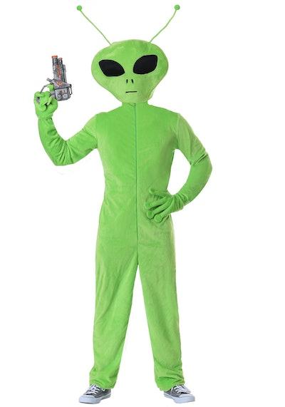 Adult in green alien costume