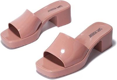 Cape Robbin Jelly Chunky Block Heel Sandals
