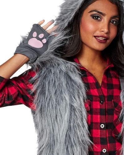 Woman dressed in werewolf costume
