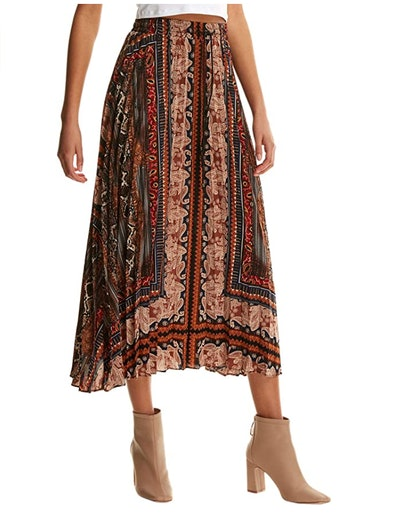 Floerns Boho Pleated Midi Skirt