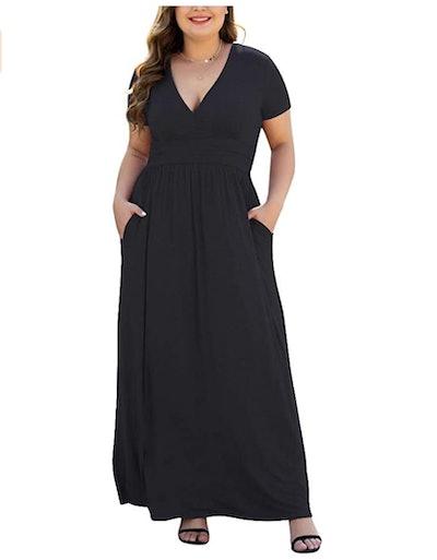 HAOMEILI Long Sleeve Maxi Dress with Pockets