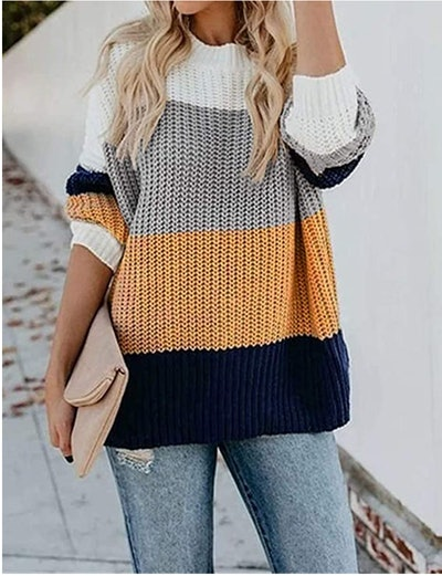 MEROKEETY Color Block Knit Sweater
