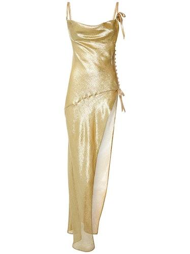 Alessandra Rich Silk Lurex Long Dress