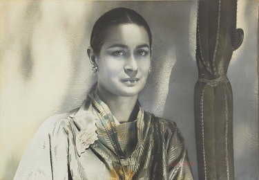 Portrait of Joan Quinn by Paul Jasmin, 1979.