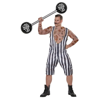 "Man dressed in ""Strongman"" costume"