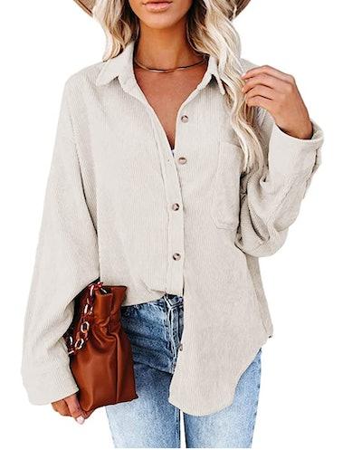 Astylish Corduroy Long Sleeve Button Shirt