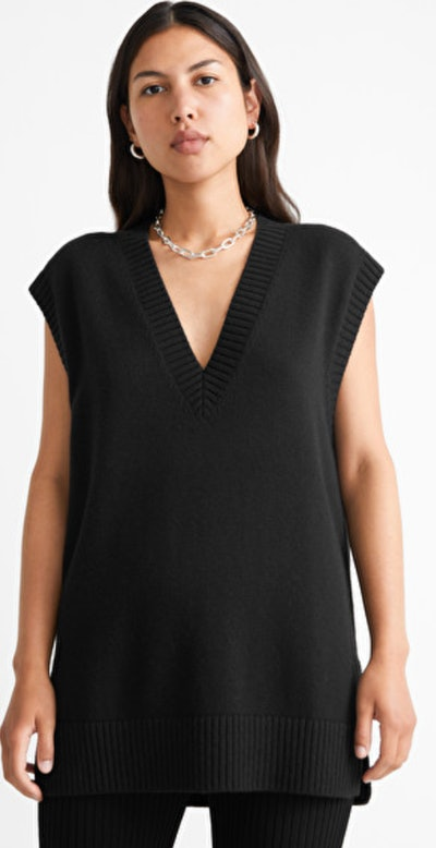 oversized black sweater vest