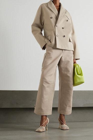 Double-Breasted Cotton-Twill Blazer