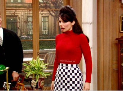 image from @whatfranwore Instagram, Fran Drescher red turtleneck and checkered skirt