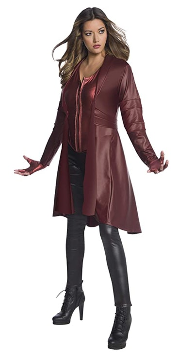 Adult woman in Scarlet Witch costume