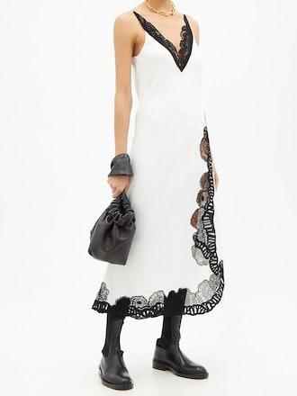 Guipure Lace-Insert Satin Slip Dress