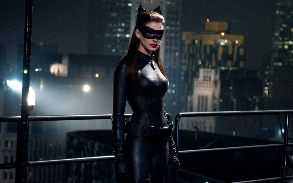 Anne Hathaway as Selina Kyle in The Dark Knight Rises.