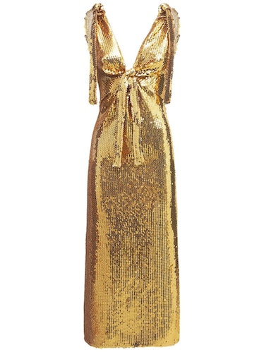 Embroidered Jersey Sequined Long Dress Paco Rabanne