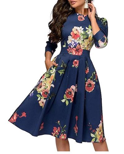 Simple Flavor Floral Midi Evening Dress