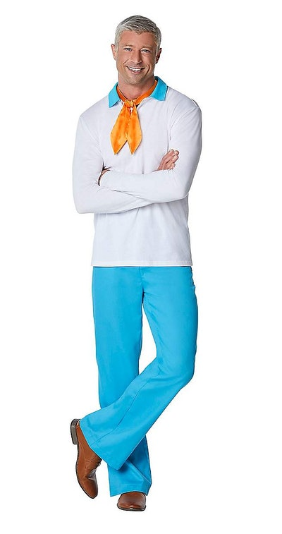 Adult man dressed as Fred from Scooby Doo