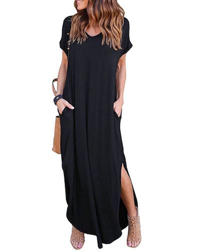 HUSKARY Short Sleeve Maxi Dress