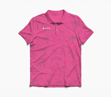 White Lotus employees like Lani wear pink polos with palm leaf print.