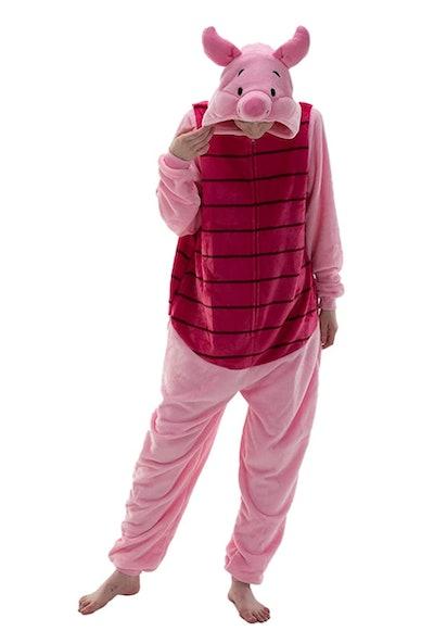 Adult wearing Piglet onesie