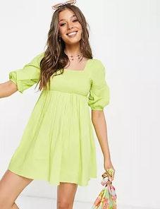 Influence mini balloon sleeve beach dress in lime