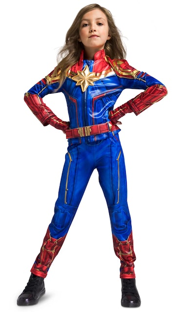 Young girl dressed as Captain Marvel