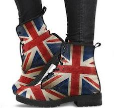 Womens Boots, Union Jack, Vegan Leather