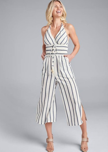 Nicole wears a striped jumpsuit on 'The White Lotus.'
