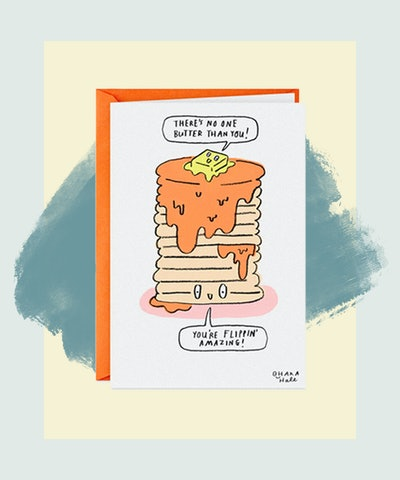A Big Stack of Happy Pancakes Funny Birthday Card