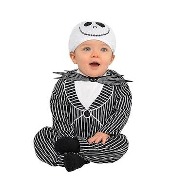 Baby dressed in Jack Skellington costume