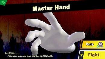 master hand super smash bros ultimate screenshot