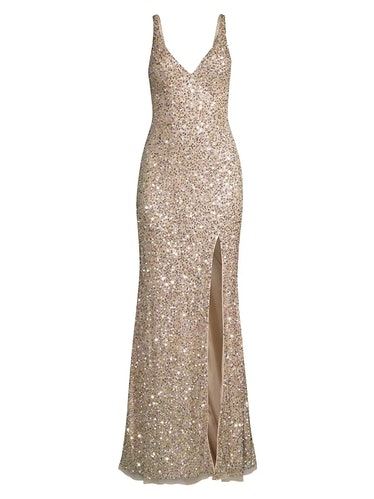 Mac Duggal V-Neck Sequin Sheath Gown  $338