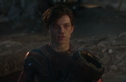 A beat up Peter Parker/Spider-Man in a screenshot from 'Avengers: Endgame.'