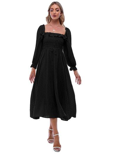 R.YIposha Square Neck Ruffled Maxi Dress