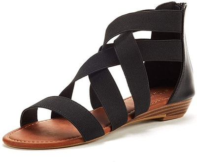 DREAM PAIRS Elastic Ankle Strap Low Wedges Sandals