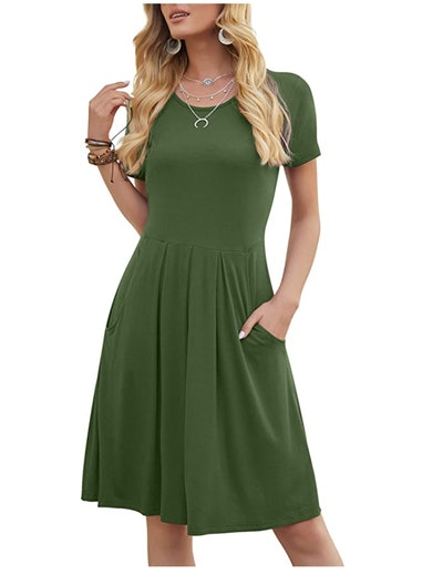 DouBCQ Pleated Dress with Pockets