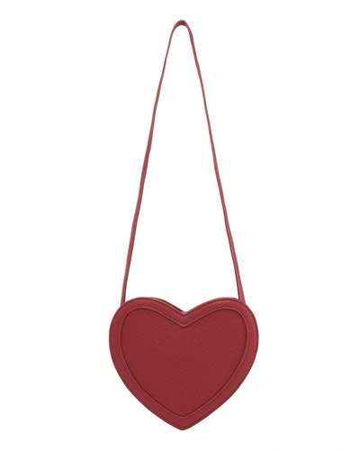 red heart shaped faux leather crossbody bag