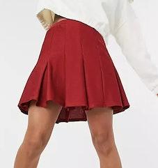 ASOS DESIGN mini pleated boucle tennis skirt in burgundy