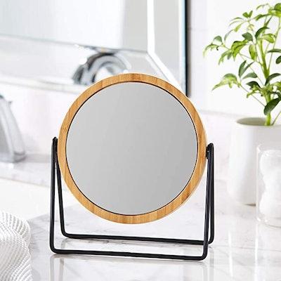 Amazon Basics Vanity Mirror With Bamboo Rim