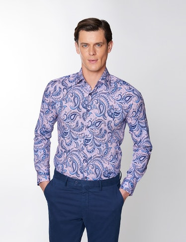 Men's Paisley Blue and Pink Collared Shirt