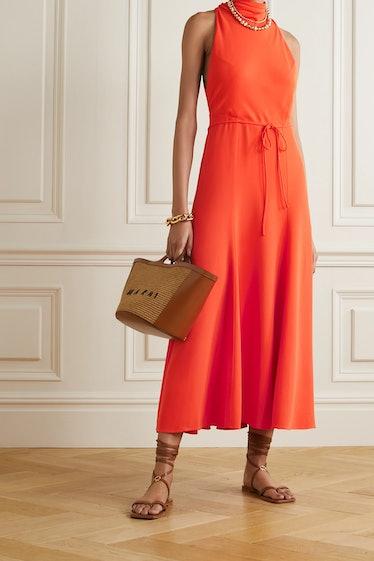 Emory Tie-Detailed Crepe Midi Dress