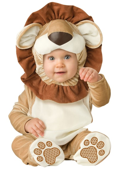 Baby dressed in lion costume