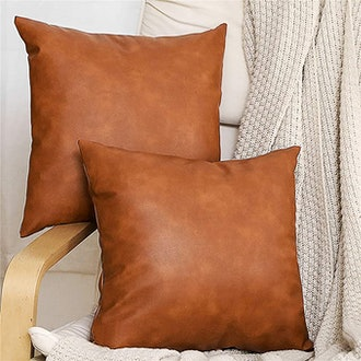 SEEKSEE Faux Leather Accent Throw Pillow Cover (2-Pack)