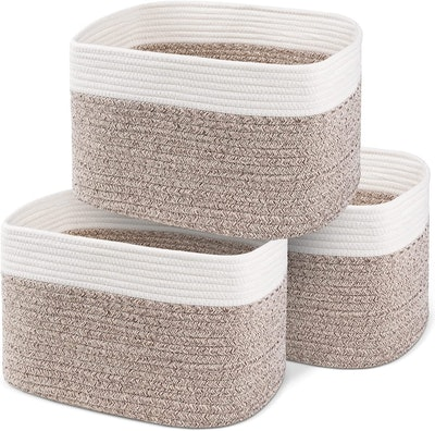 CHAT BLANC 100% Cotton Rope Basket (3-Pack)